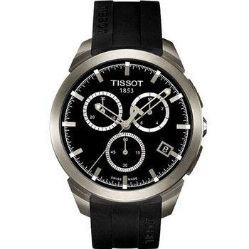 TISSOT Titanium 鈦風尚計時腕錶-黑x橡膠錶帶(T0694174705100)
