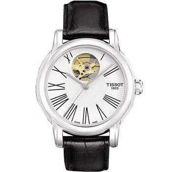 TISSOT Lady Heart 心跳鏤空羅馬機械腕錶-白T0502071603300