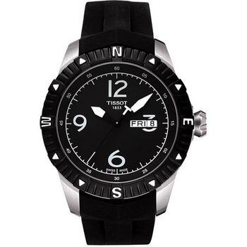 TISSOT T-Navigator 霸氣型男機械腕錶-黑/橡膠T0624301705700