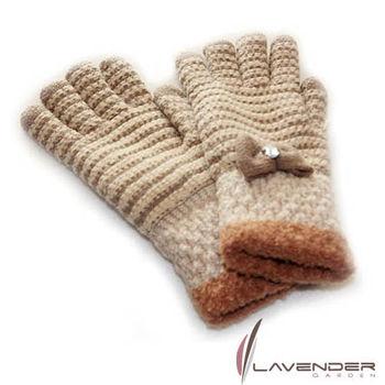 Lavender-蝴蝶結條紋針織雙層手套-咖啡色