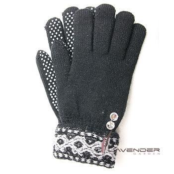Lavender-典雅針織雙層手套-黑色