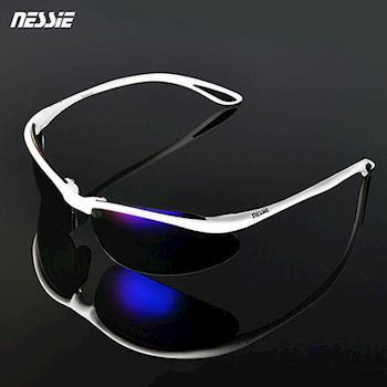 【Nessie 尼斯濾藍光眼鏡】偏光運動墨鏡款-亮白/黑(PC運動墨鏡框)