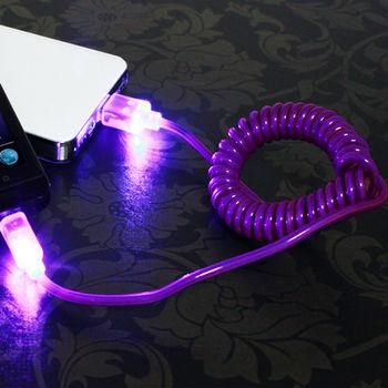 彈簧型USB傳輸線 充電線 絢爛夜光 七彩炫光