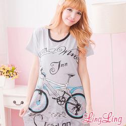 lingling日系大尺碼-腳踏車圖案T恤居家連身睡衣(俏麗黑)A1518