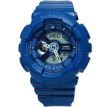 Baby-G 個性活力 搶眼立體層次雙顯腕錶 藍色 42mm / BA-110BC-2A