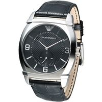 ARMANI 獨立小秒針男腕錶 ^#45 黑 AR0342