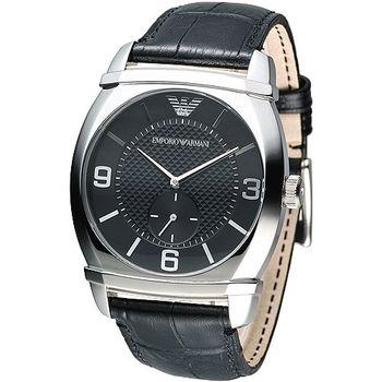 ARMANI 經典獨立小秒針男腕錶-黑 AR0342