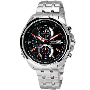 CASIO EDIFICE 賽車魅力三環計時腕錶 黑色 橘色 44mm / EFR-536D-1A4