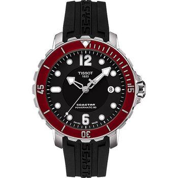 TISSOT Seastar 1000 海洋之星潛水機械腕錶-黑x紅圈T0664071705703