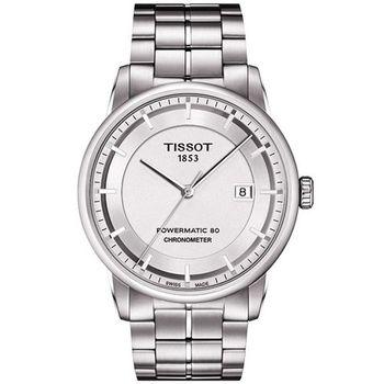 TISSOT T-Classic Luxury 天文台認證機械腕錶-銀T0864081103100