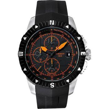 TISSOT T-Navigator 霸氣型男計時機械腕錶-黑/橘時標(T0624271705701)