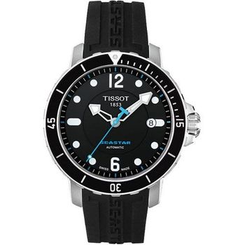 TISSOT Seastar 300米專業排氦潛水機械腕錶-黑T0664071705700