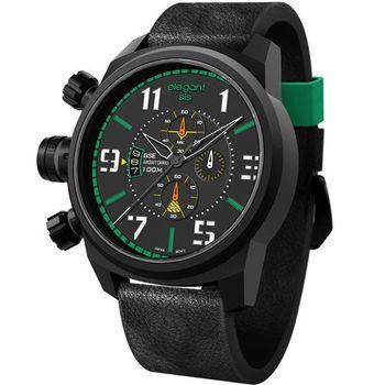 elegantsis 激戰航空母艦三環皮革腕錶 綠色 黑色 47mm / ELJF48-OG01LC