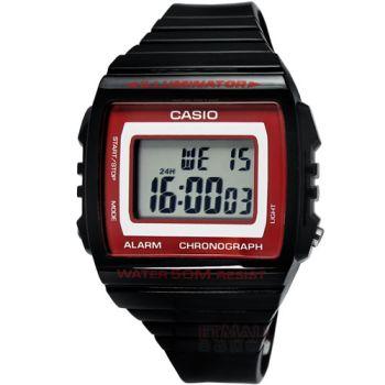 CASIO 繽紛休閒‧方形數字鬧鈴運動腕錶_黑x紅〈W-215H-1A2〉