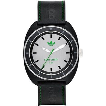 adidas Stan Smith 完美體現簡約皮革腕錶-銀x黑 42mm / ADH2958