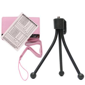 e-First 時尚皮革相機包超值組-粉紅色