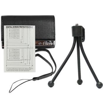 e-First 時尚皮革相機包超值組-黑色