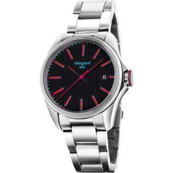 elegantsis 直紋日期腕錶 簡約 黑色 紅色 38mm / ELJT43-2B01MA