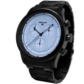 elegantsis 三環計時腕錶 中性錶 黑鋼 淺藍色 黑色 44mm / ELJT34-JP05MA