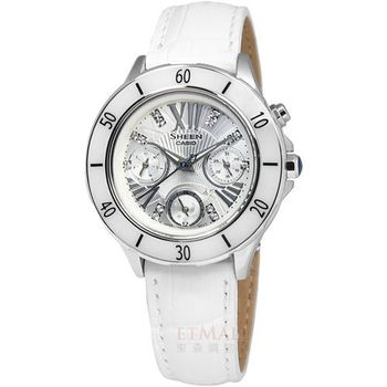 CASIO SHEEN 雪白典雅真皮腕錶 銀白色 34mm / SHE-3505L-7A