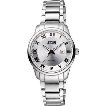 STAR 羅馬經典藍寶石水晶時尚女錶-銀 1T1407-111S-S