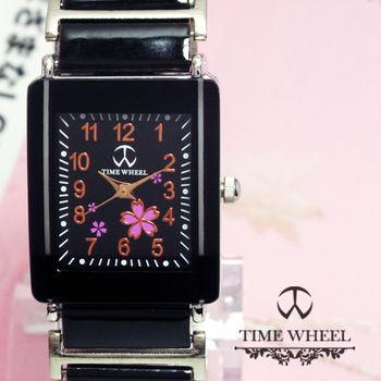 TIME WHEEL 數字粉櫻花方型陶瓷錶