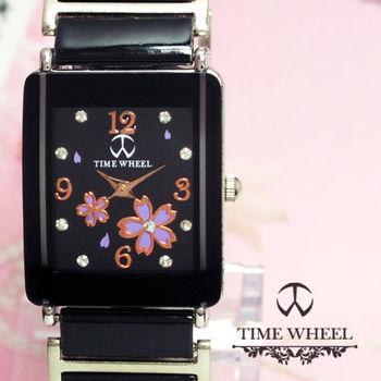 TIME WHEEL 精鑽紫櫻花方型陶瓷錶