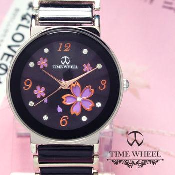 TIME WHEEL 精鑽紫櫻花圓型陶瓷錶