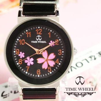 TIME WHEEL 數字粉櫻花圓型陶瓷錶
