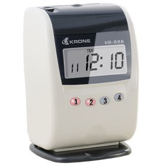 【KRONE】時尚/單色/液晶顯示打卡鐘KR-888