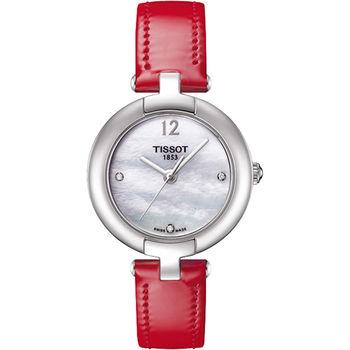 TISSOT Pinky 優雅女仕真鑽腕錶-珍珠貝x紅T0842101611600
