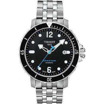 TISSOT Seastar 300米專業排氦潛水機械腕錶-黑T0664071105700