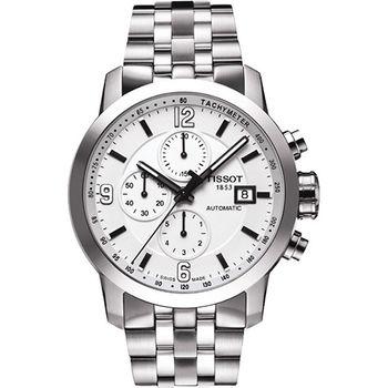 TISSOT T-Sport PRC200 競速三眼計時機械腕錶-銀T0554271101700