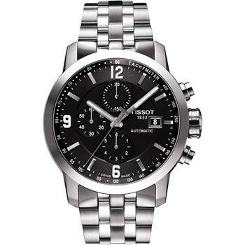 TISSOT T-Sport PRC200 競速三眼計時機械腕錶-黑x銀T0554271105700