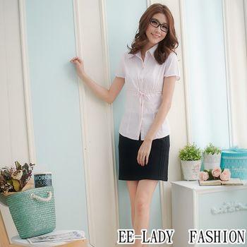 【EE-LADY】OL腰綁帶小包袖襯衫-粉色(40,42)