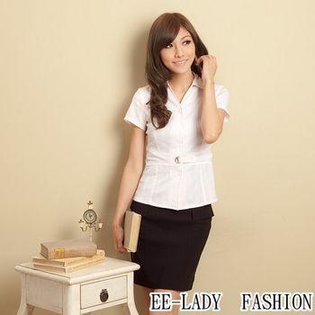 【EE-LADY】OL腰帶壓扣條紋短袖襯衫-粉色(42,44吋)