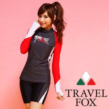 【TRAVELFOX 旅狐】運動風長版兩件式泳衣C14709