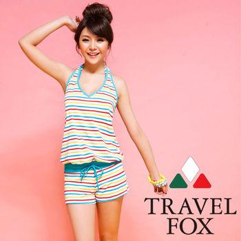 【TRAVELFOX 旅狐】多彩條紋連身褲三件式泳衣C14714