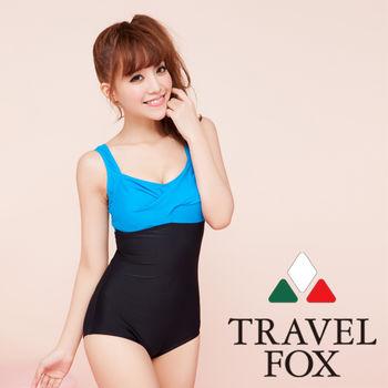 【TRAVELFOX 旅狐】時尚運動款大女連身三角泳衣C14723