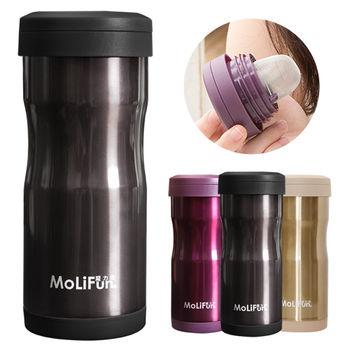 MoliFun魔力坊 不鏽鋼雙層高真空附專利濾網保溫杯瓶350ml-尊爵灰