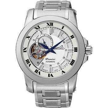 SEIKO Premier 心跳鏤空視窗機械腕錶-銀4R39-00L0S
