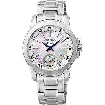 SEIKO Premier 羅馬之戀小秒針女錶-珍珠貝x銀6G28-00T0S
