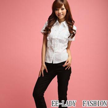 【EE-LADY】OL雙排荷葉短袖襯衫-藍色(36,38,40)