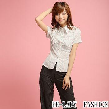 【EE-LADY】OL條紋口袋短袖襯衫-綠色(34,36)