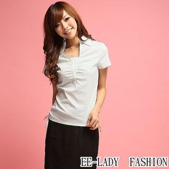 【EE-LADY】OL腰間抽皺條紋假二件短袖襯衫-藍色(34,36,38)