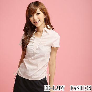 【EE-LADY】OL腰間抽皺條紋假二件短袖襯衫-粉色(34,36)