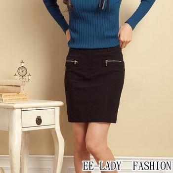 【EE-LADY】OL假拉鍊口袋彈性短裙-黑色(XS號)