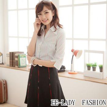 【EE-LADY】OL條紋V領七分袖襯衫-綠色(34,36,38,40)