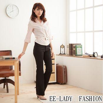 【EE-LADY】OL條紋V領七分袖襯衫-粉色(34,36)