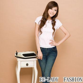 【EE-LADY】OL雙排荷葉短袖襯衫-粉色(34,36)